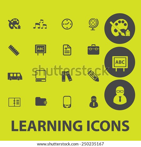 learning, study, school icons, signs, illustrations set, vector - stock vector