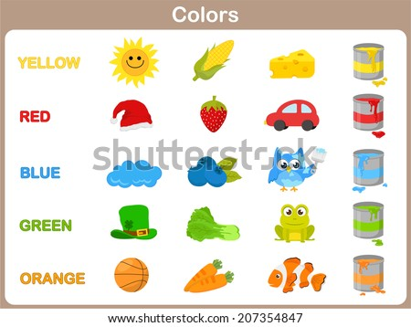 Learning the object colors for kids - stock vector