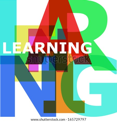Learning - vector abstract color text - stock vector