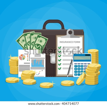 Leather briefcase, money cash, financial reports, insurance contract claim form, calculator, pen, stacks of gold coins. Business insurance concept. vector illustration in flat design - stock vector