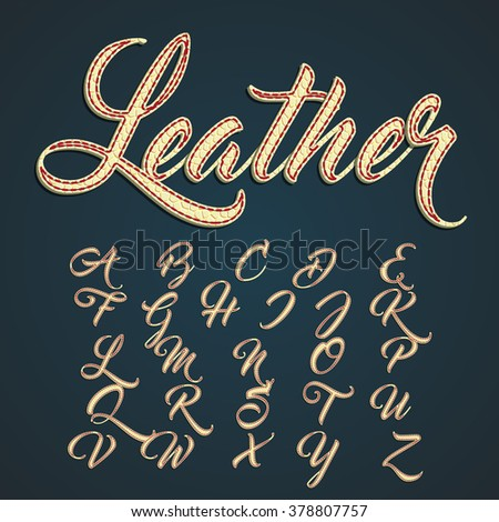 Leather capitals and characters made by leather, vector illustration - stock vector