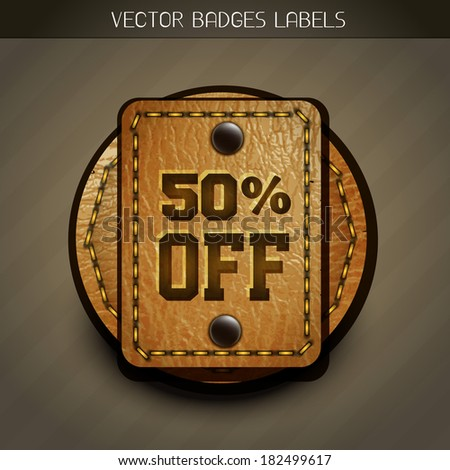 leather disount label vector design - stock vector