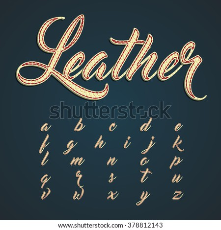 Leather font lowercase characters, vector - stock vector