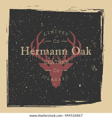 Leather or hunting company logo. Deer head silhouette on grunge texture. Vector illustration. - stock vector