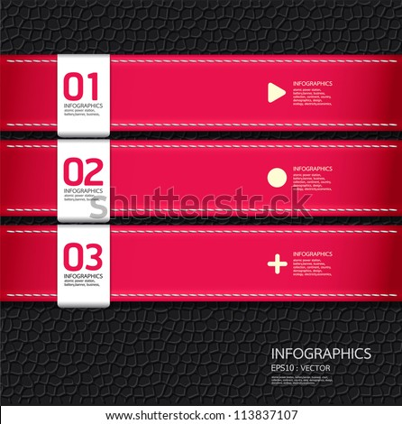 Leather pink color Design template  / can be used for infographics / numbered banners / horizontal cutout lines / graphic or website layout vector - stock vector