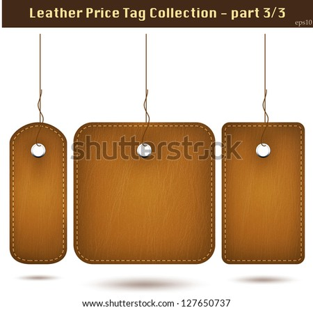 Leather price tag collection 3. Isolated on white. Vector - stock vector