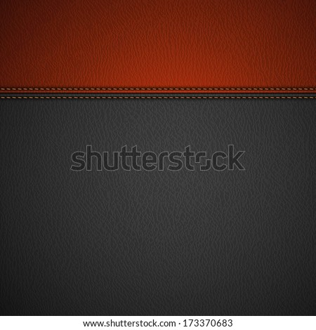 Leather Texture Background with Stitched Red Stripe - eps10 - stock vector