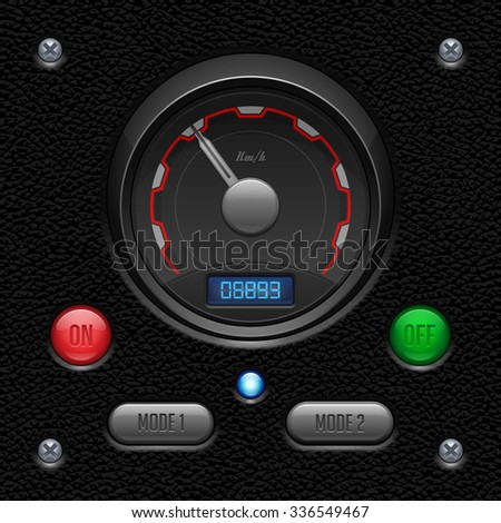 Leather UI Application Software Controls Set. Switch, Button, Lamp, Car, Auto, Speedometr, Tachometer, Indicator, Detector, LED. Web Design Elements. Vector User Interface EPS10  - stock vector