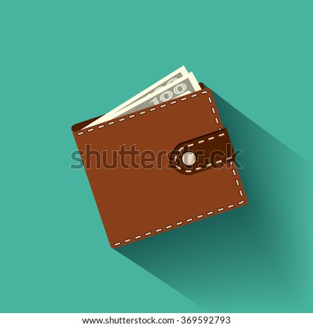 Leather wallet with banknotes. Icon in the style of Flat graphic. Stock vector illustration. - stock vector