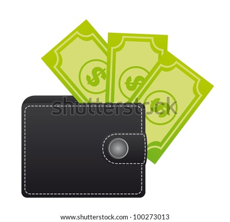 leather wallet with bills over white background. vector - stock vector
