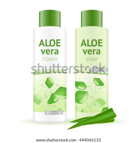 Leaves and bottles with aloe vera water toner and soap on white background realistic vector illustration - stock vector