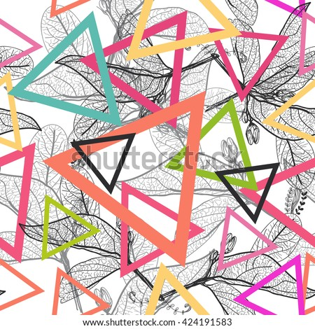 Leaves black contours, triangle Rainbow bright magenta pink orange blue modern trendy background. floral seamless pattern, hand-drawn. Geometric abstract background for site, blog, fabric. Vector - stock vector