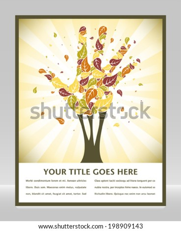 Leaves falling from a hand shaped tree with space for text.  - stock vector