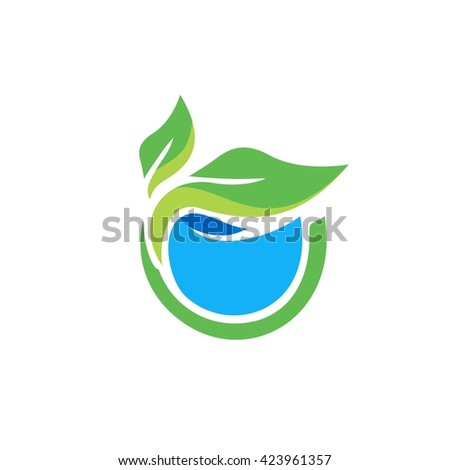Leaves logo. Leave  floating on water vector illustration - stock vector