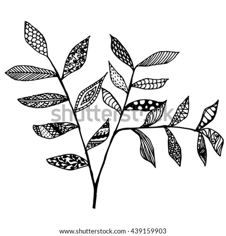 leaves mandala, Hand drawn doodle illustration for adult coloring books in vector. Unique lacy floral doodles for your design. - stock vector