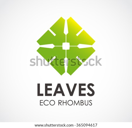 Leaves of eco rhombus abstract vector and logo design or template natural square business icon of company identity symbol concept - stock vector