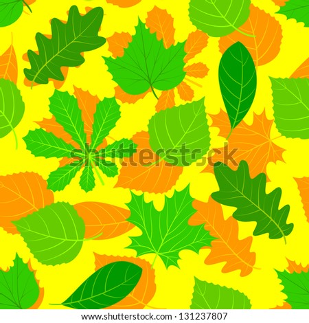 Leaves of various trees are chaotically located. The composition forms a seamless background. - stock vector