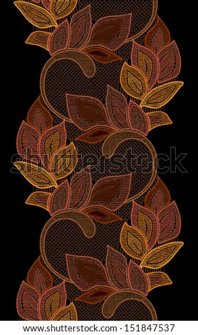 Leaves seamless lace line.  - stock vector