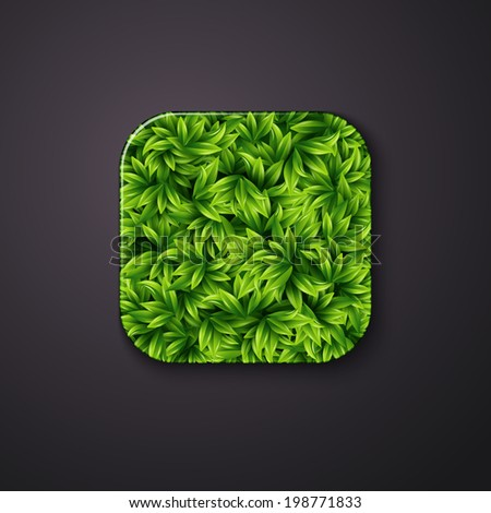 Leaves texture icon stylized like mobile app. Vector illustration. - stock vector