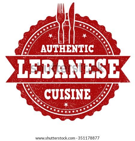 Lebanese cuisine grunge rubber stamp on white background, vector illustration - stock vector