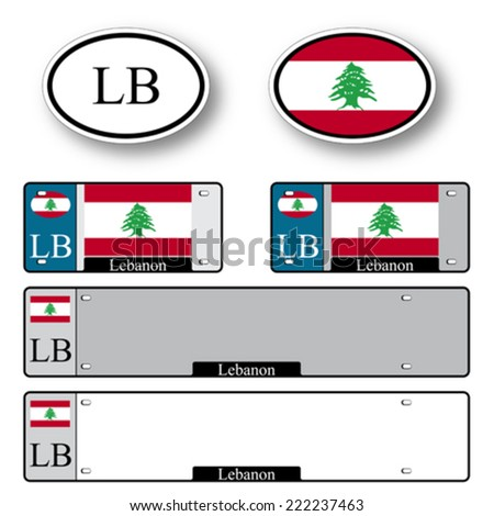 lebanon auto set against white background, abstract vector art illustration, image contains transparency - stock vector