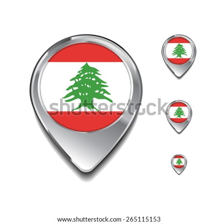 Lebanon flag map pointer. 3d Map Pointer with flag glossy button style on gray background - stock vector
