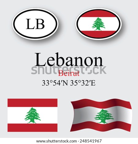 lebanon icons set against gray background, abstract vector art illustration, image contains transparency - stock vector