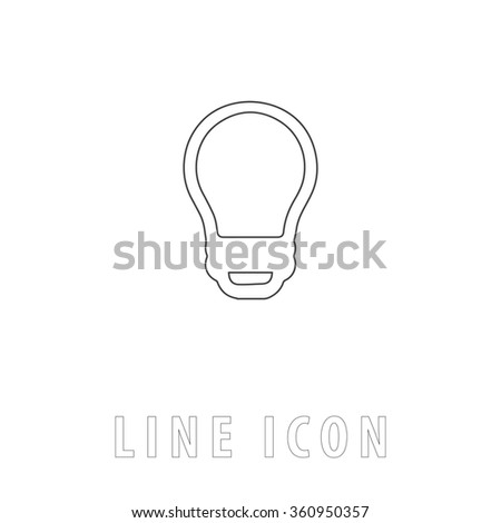 Led Bulb Outline simple vector icon on white background. Line pictogram with text  - stock vector