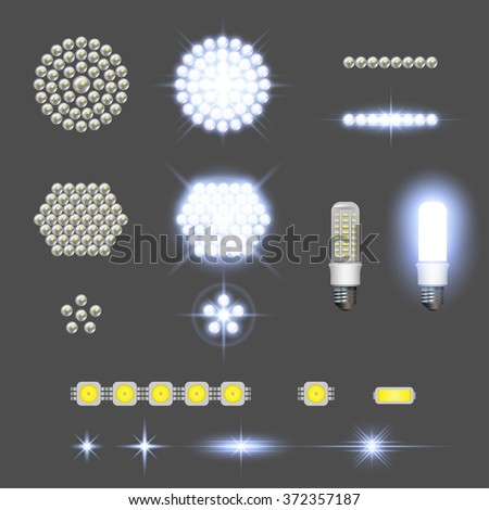 Led lamps with lights effects - stock vector