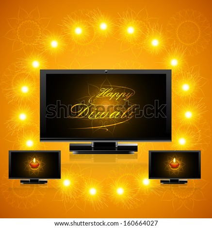 Led tv screen beautiful happy diwali celebration reflection vector illustration - stock vector