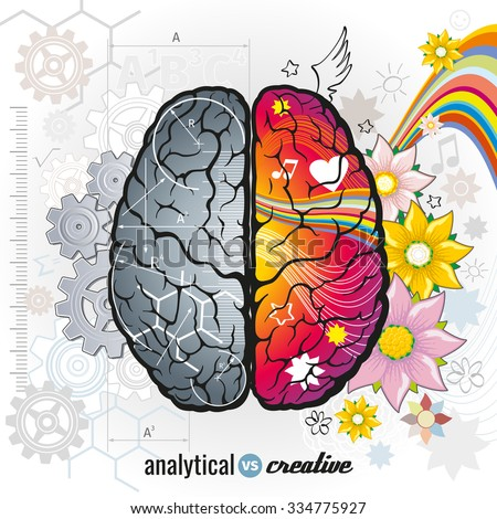 Left analytical and right creativity brain functions vector concept illustrations. Human intelligence, design left and right mind, intellect psychology illustration - stock vector
