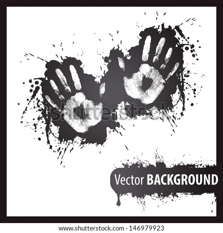 left and right hand print - stock vector