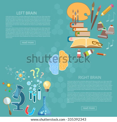 Left and right side of the brain logic and creativity education back to school sciences and arts vector banners - stock vector