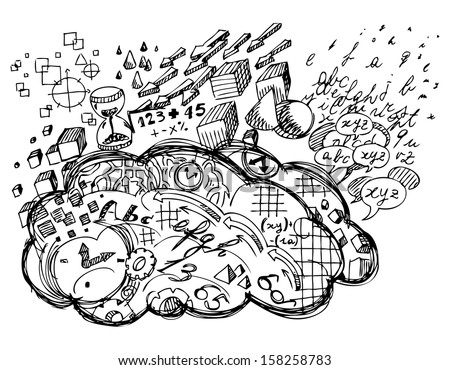 Left Brain hemisphere logic, reason, verbal, time, and black and white vision - stock vector