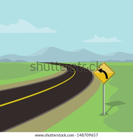 left curve road and left turn road sign, on green landscape with mountains  - stock vector