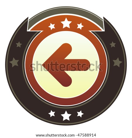 Left directional arrow icon on round red and brown imperial vector button with star accents suitable for use on website, in print and promotional materials, and for advertising. - stock vector
