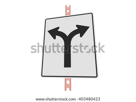 Left or right only - 3d illustration of roadsign isolated on white background - stock vector