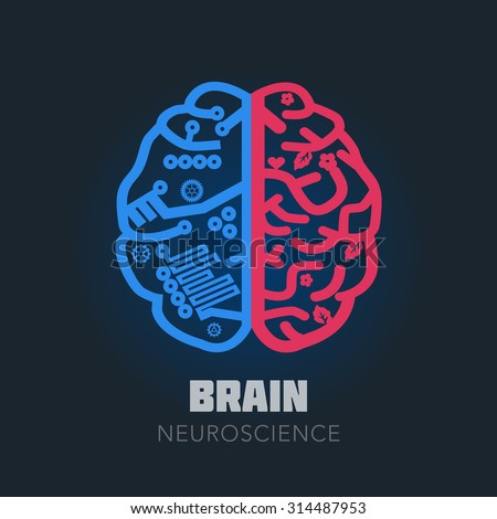Left & Right Human Brain hemispheres vector icon. Brain design template for Neuroscience & Medicine. Left and right brain functions. Creative & analytical brain division. Vector illustration. - stock vector