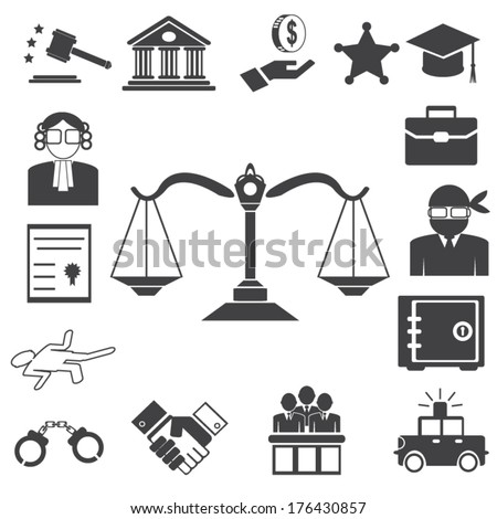 Legal, law and justice icon set - stock vector