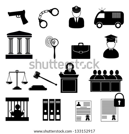 Legal, law and justice icon set. Justice, law and legal icon set - stock vector