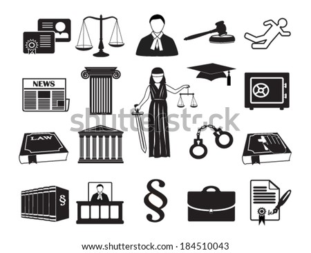 Legal & law set icons. Vector illustration eps 10, isolated on white background. Can be used for infographic chart process the justice firm, Notary Company, business card lawyer - stock vector