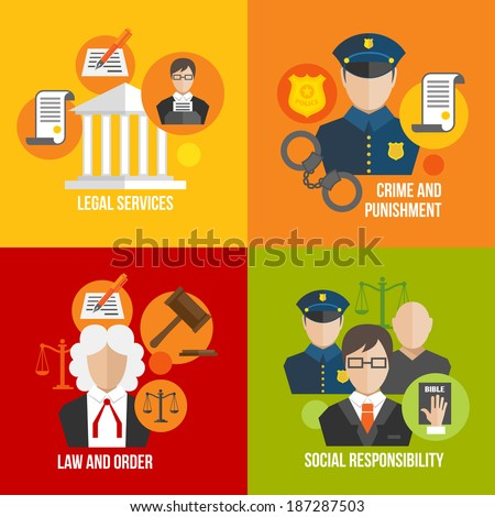 Legal services crime and punishment law and order social responsibility icons set isolated vector illustration - stock vector