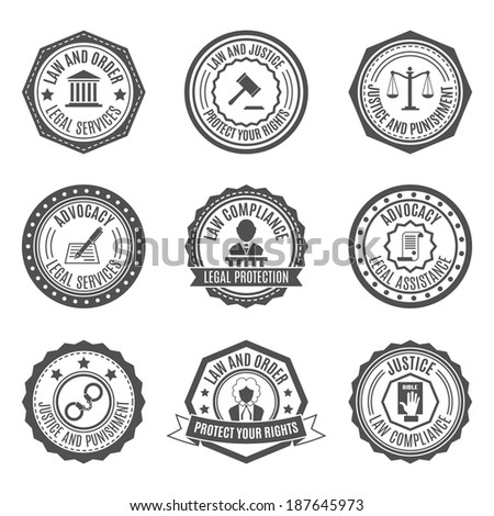 Legal services rights protect advocacy service labels set isolated vector illustration - stock vector