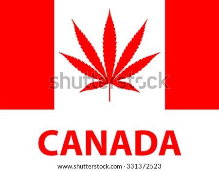 Legalize Marijuana, Weed in Canada, Flag - stock vector