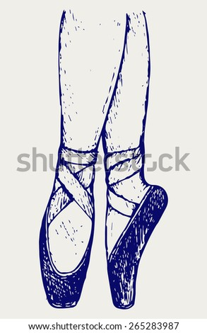 Legs and shoes of a young ballerina. Doodle style - stock vector