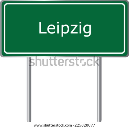 Leipzig, Germany, road sign green vector illustration, road table - stock vector