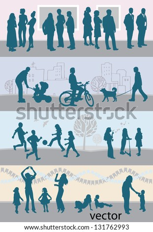 leisure activities / silhouettes / gray - stock vector