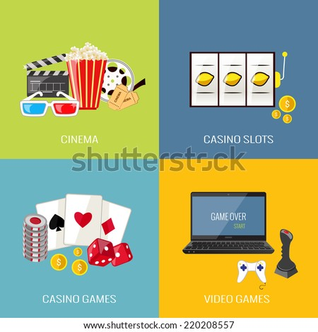 Leisure video sport and gambling casino games flat icons set isolated vector illustration - stock vector