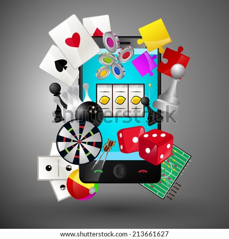 Leisure video sport and gambling casino games icons with mobile phone concept vector illustration - stock vector