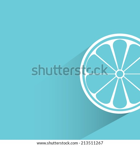 lemon, blue background, flat and shadow theme design - stock vector